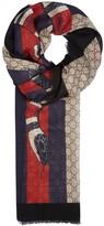 Gucci Gg Snake-print Wool Scarf