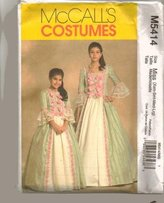 Mccall's Sewing Pattern M5414 Misses' Early America / Colonial Era Gown, Size Xsm-Sml-Med-Lrg by