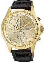 Citizen Goldtone Chronograph Leather-Strap Watch - Men