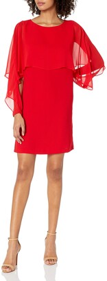 Nanette Nanette Lepore Women's Long Sleeve Shift Dress W/Chiffon Popover