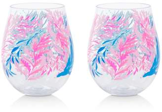 Lilly Pulitzer Kaleidoscope Coral Acrylic Wine Glasses, Set of 2