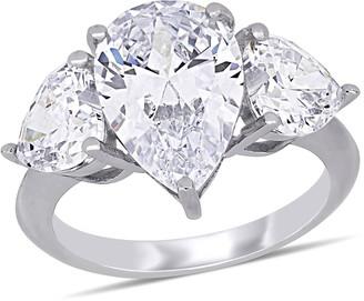 Delmar Sterling Silver Prong Set Pear Cut CZ 3-Stone Ring