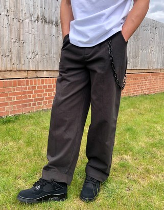 The Ragged Priest wide leg trouser with chain in grey