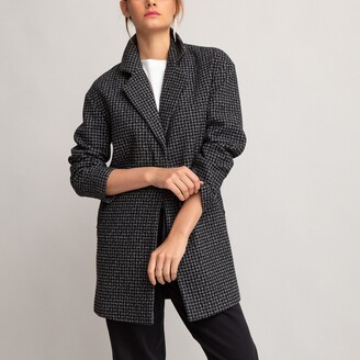 La Redoute Collections Houndstooth Check Mid-Length Coat