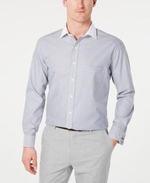 Tasso Elba Men's Classic/Regular Fit Non-Iron Supima Cotton Twill Bar Stripe French Cuff Dress Shirt, Created for Macy's