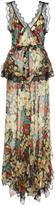 Rodarte Printed Silk Satin Jumpsuit