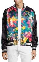 Valentino Tropical-Print Satin Souvenir Bomber Jacket, Black/Multicolor
