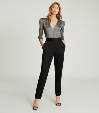 Reiss Elyssah - Satin Pleated Trousers in Black