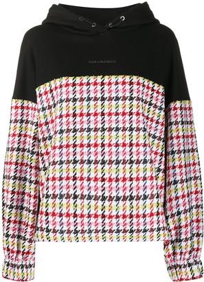 Karl Lagerfeld Paris Oversized Boucle-Panel Hoodie