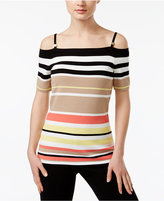 Calvin Klein Off-The-Shoulder Striped Sweater
