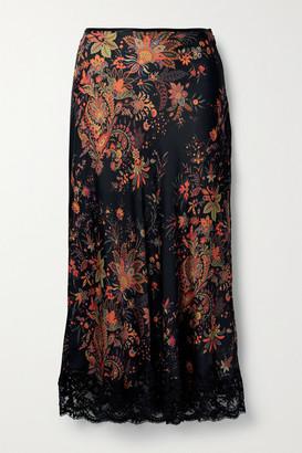 Paco Rabanne Lace-trimmed Floral-print Satin Midi Skirt - Black