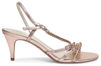 Kate Spade Makenna Embellished Metallic Leather Slingback Sandals