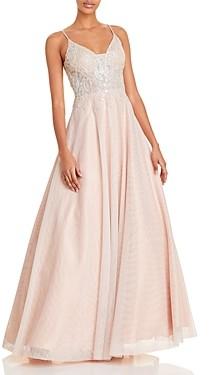 Aqua Applique Gown - 100% Exclusive