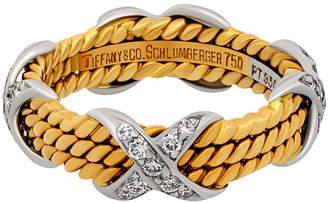 Tiffany & Co. Estate Estate 18K Yellow Gold & Platinum Schlumberger Diamond Ring, Size 5.5