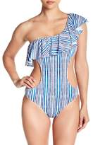 Tart Enzo Striped Print One-Shoulder Monokini Swimsuit