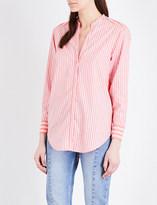 Sandro Striped cotton-poplin and chiffon panel shirt