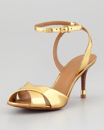 Tory Burch Tania Metallic Ankle-Strap Sandal, Gold