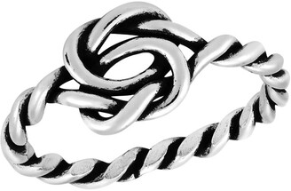 Aeravida Handmade Interlocking Celtic Infinity Knot Twisted Band .925 Sterling Silver Ring