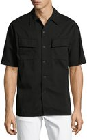 Nudie Jeans Svante Over-Dyed Short-Sleeve Utility Shirt, Black