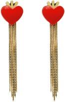 Handmade Acrylic Earrings Heart & Fringe