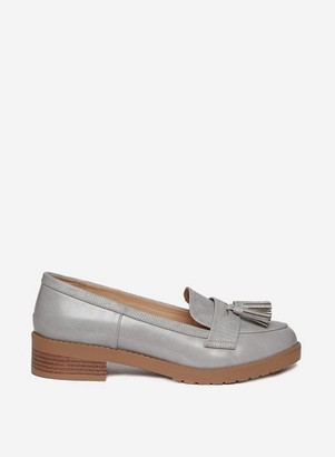 Dorothy Perkins Womens Wide Fit Grey 'Litty' Loafers, Grey