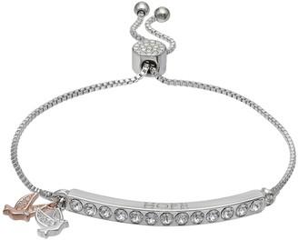 "Brilliance+ Brilliance Silver Plated ""Hope"" Dove Charm Bracelet with Swarovski Crystals"