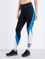 Ivy Park Ladies Black & Blue Breathable Logo Colourblock Stretch-Jersey Leggings