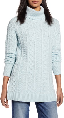 Halogen Cable Turtleneck Tunic Sweater
