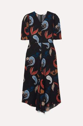 See by Chloe Paisley-print Crepe Midi Dress - Navy