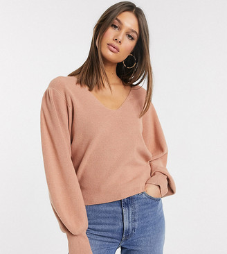 Asos Tall DESIGN Tall v neck jumper with blouson sleeve-Pink