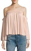 Elizabeth and James Emelyn Off-the-Shoulder Pleated Top, Light Beige