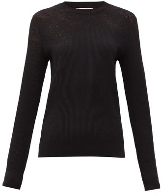 Givenchy Floral-pointelle Rib-knitted Sweater - Black
