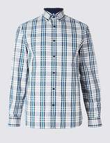 Blue Harbour Cotton Rich Checked Oxford Shirt