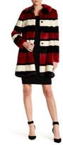 Alice + Olivia Kinsley Oversized Stripe Faux Fur Coat