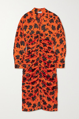 Ganni Ruched Floral-print Silk-blend Satin Midi Shirt Dress - Orange