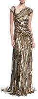 Jenny Packham Molten Sequin Illusion Gown