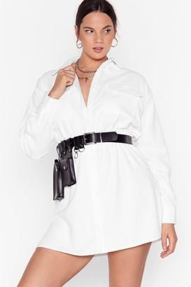 Nasty Gal Womens Grab Your Cord Plus Shirt Dress - White