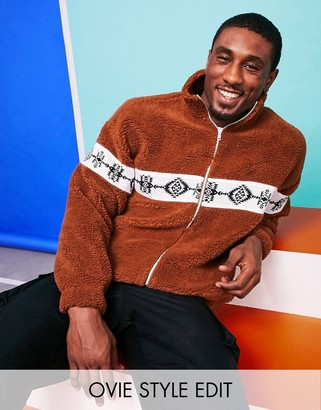 ASOS DESIGN oversized track top in teddy borg with Aztec panel in brown
