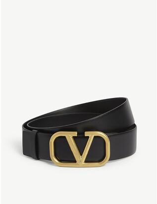 Valentino V logo leather belt