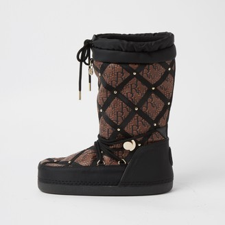 River Island Womens Black quilted RI monogram snow boots