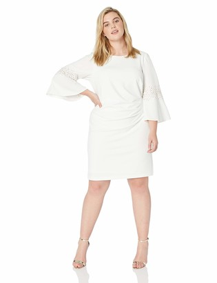 Jessica Howard JessicaHoward Plus Size Womens Bell Sleeve Side Tuck Sheath Dress with Beading