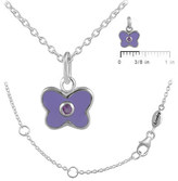 Ice 12-18 In Kids' Silver June Birthstone Butterfly Necklace For Girls