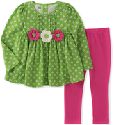 Kids Headquarters Lime Floral-Accent Tunic & Leggings - Infant, Toddler & Girls