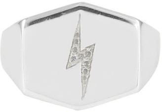 No 13 Lightning Bolt Shield Signet Ring