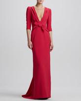 Carolina Herrera Elbow-Sleeve Plunging-V Gown, Bright Ruby
