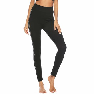 Tuduz Pants Yoga Pants TUDUZ Sale Women High Waist Workout Running Tights Hot Stamping Print Leggings Fitness Athletic Sport Pants(C Black L)