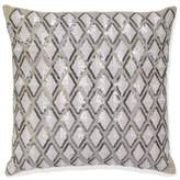 Aura Diamond Linen Square Throw Pillow in Beige
