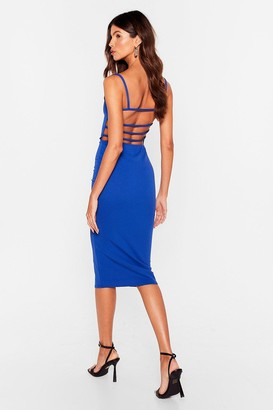 Nasty Gal Womens It's Strappy Hour Bodycon Midi Dress - Cobalt