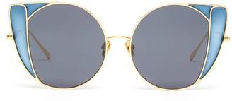 Linda Farrow Austin Butterfly-frame Metal Sunglasses - Womens - Blue Gold