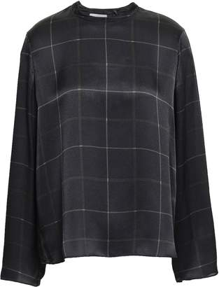 Vince Checked Silk-satin Top